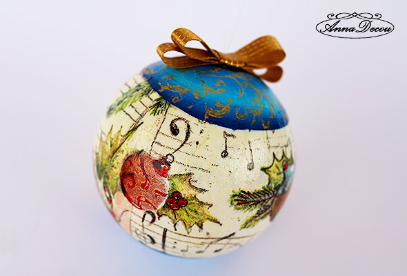AnnaDecou hand decorated styrofoam ball, styroporkugel,-weinachten,-handarbeit.